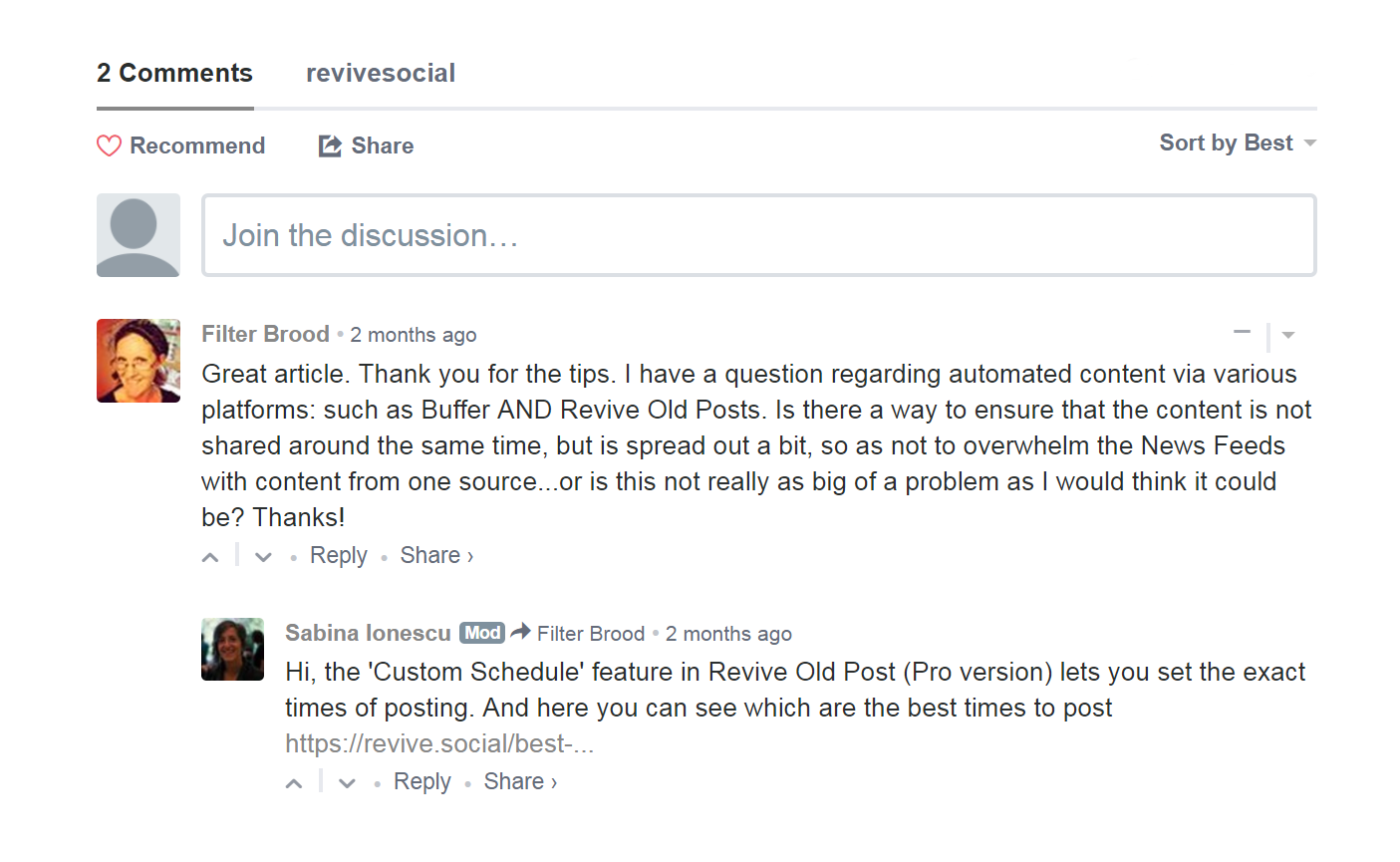 Comments on a blog post.