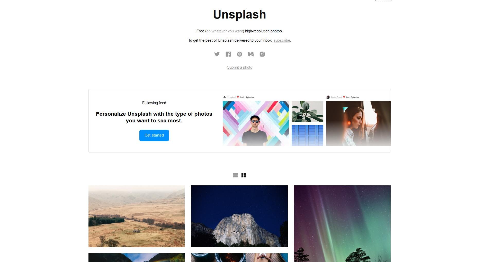 unsplash free stock photos homepage
