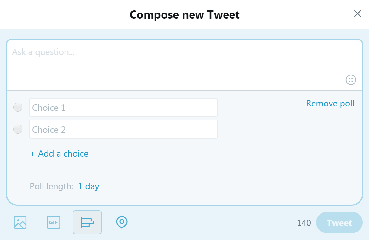 Creating a Twitter poll.
