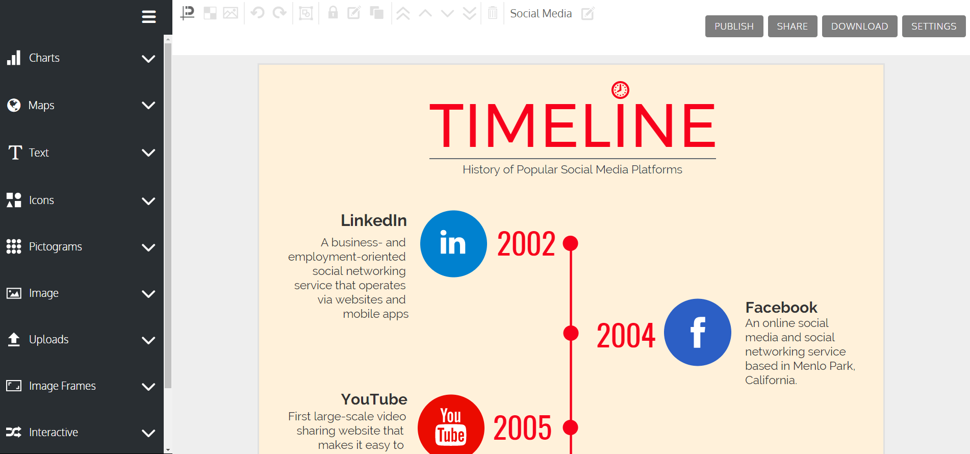 The Venngage infographic editor.