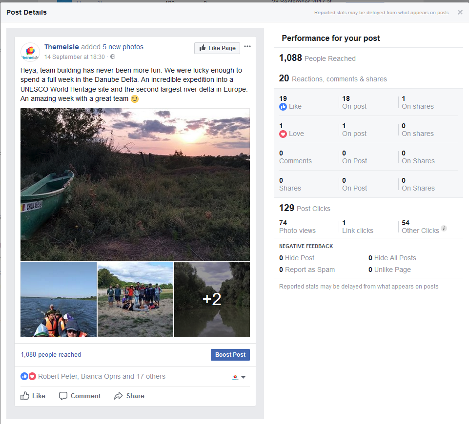 Social media case study: The performance of our team post from the Danube team building