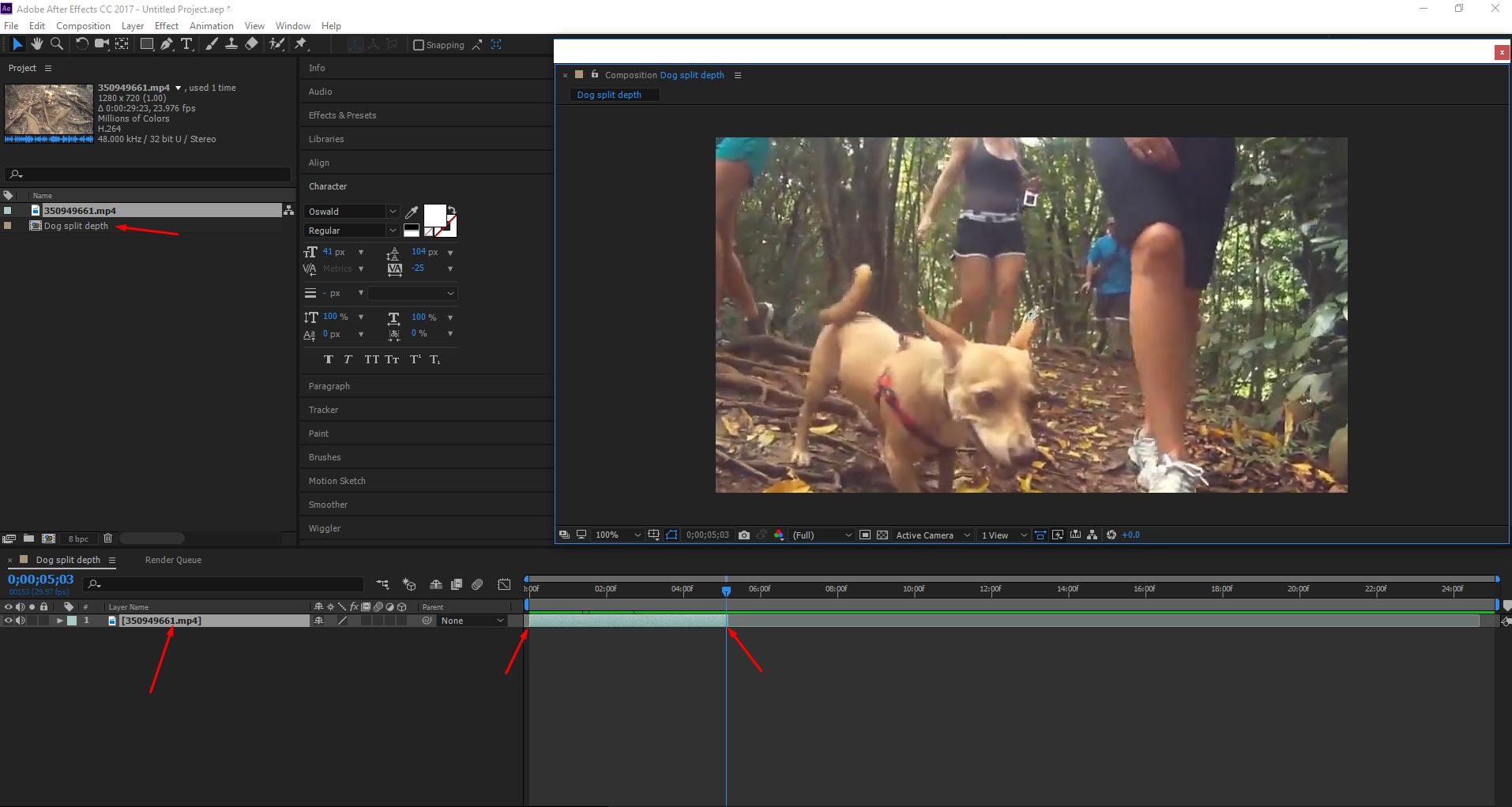 Make a new composition and shorten the clip