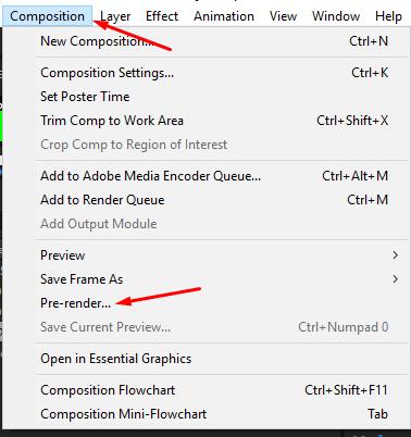Find pre render in the composition menu