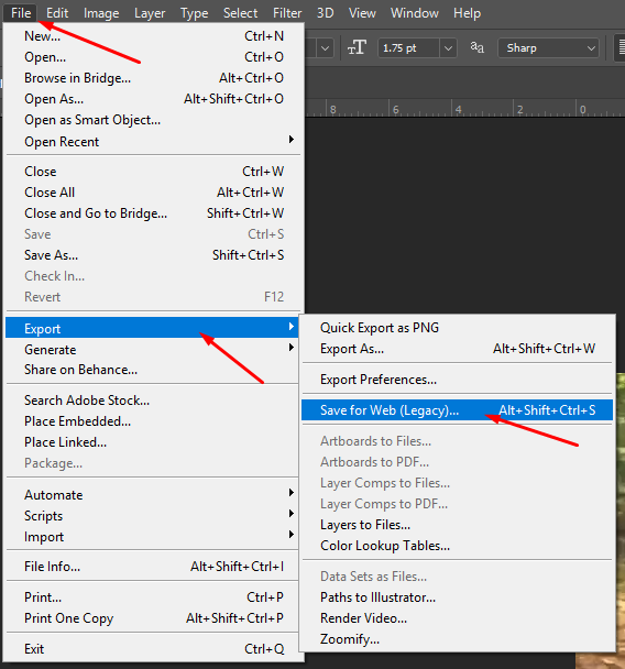 The export options are found in the file menu. To access GIF you need to Save for web