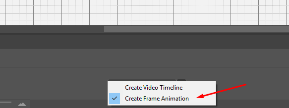 When the timeline is open you will need to select frame animation for your GIF