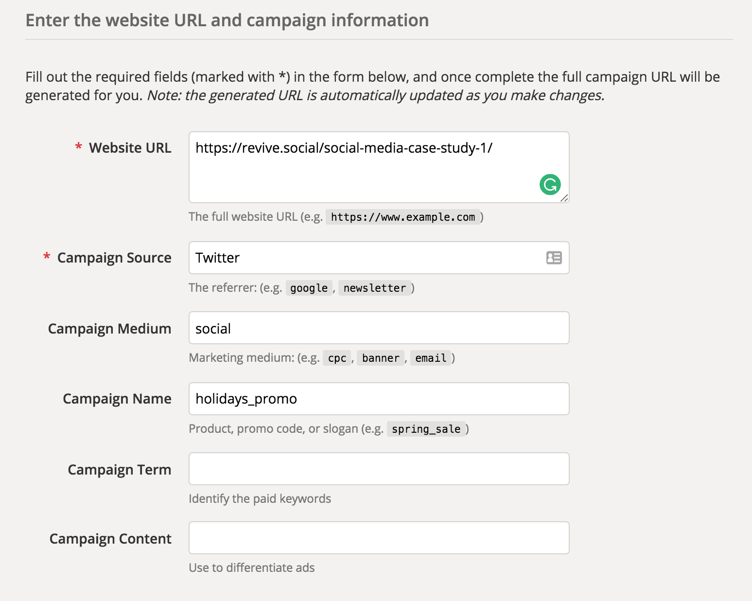 Building a URL with UTM parameters