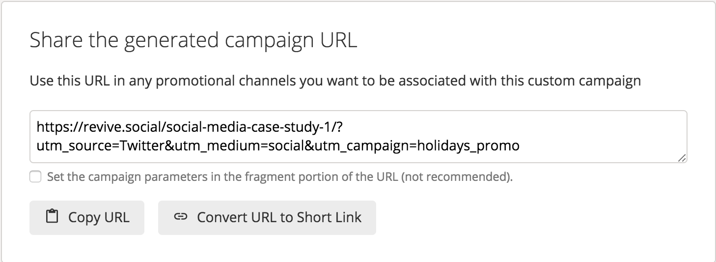UTM tracking parameters for RevSocial example