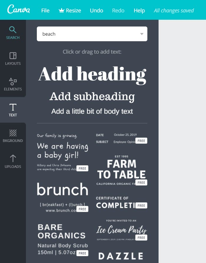 How to make infographics with Canva - Text