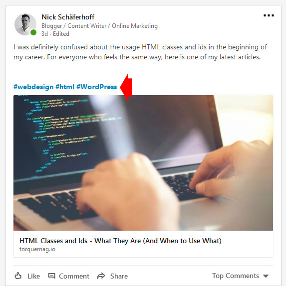 add hashtags to linkedin status updates