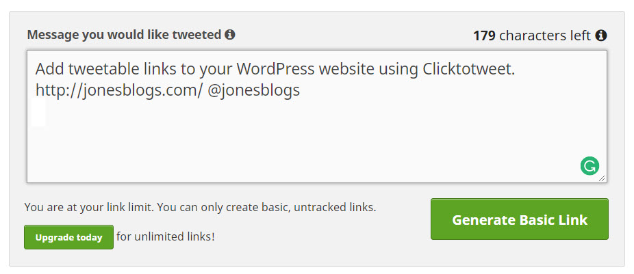 Create a tweetable message