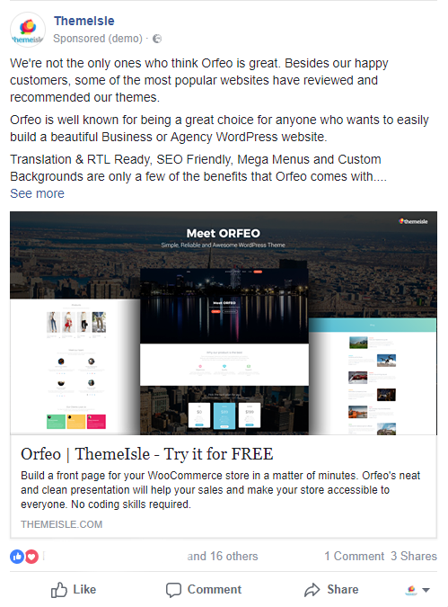 Social Media Case Study - The Facebook ad supporting the release of our new theme