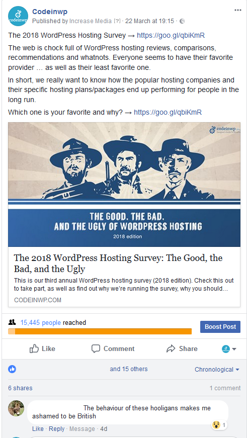 In this social media case study I have noticed weird comments on our ads