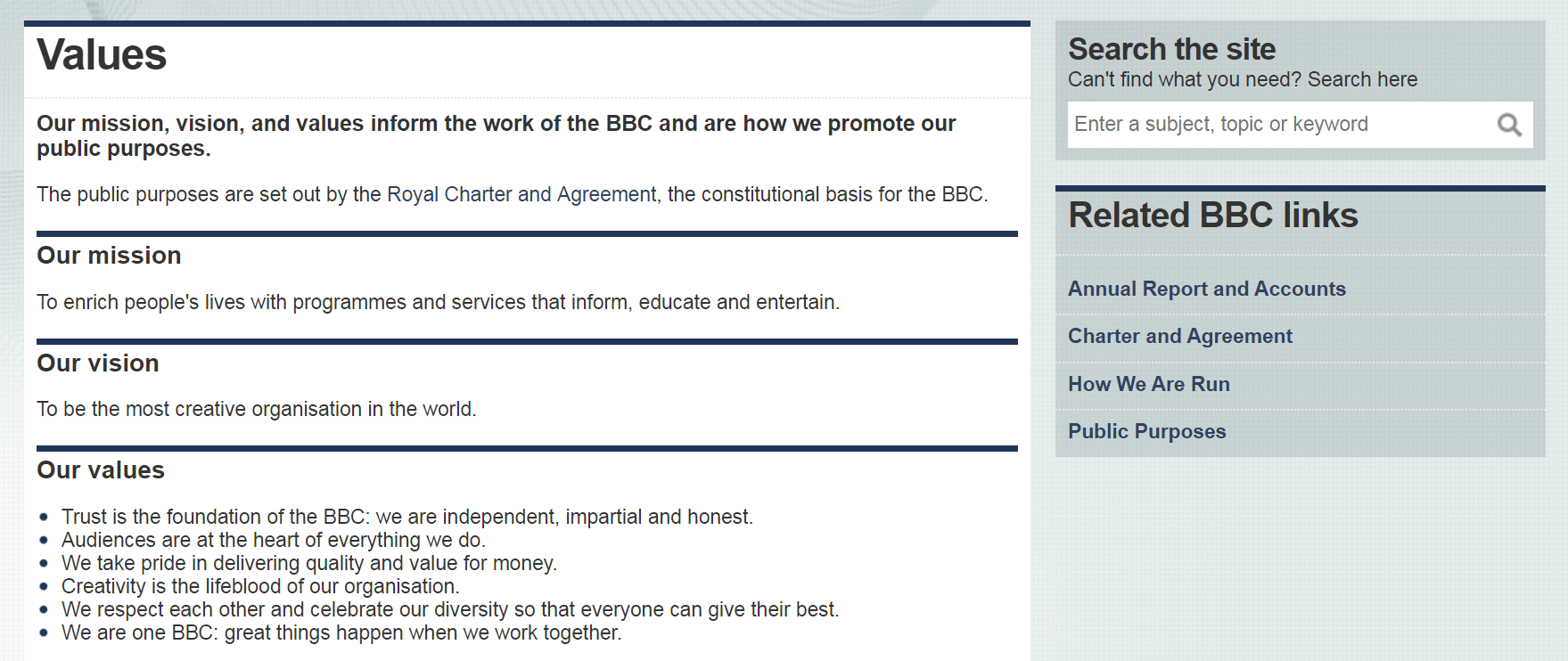 The BBC's mission statement and core values.