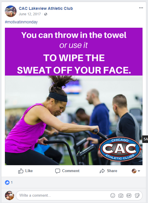 lakeview gym promoting on facebook