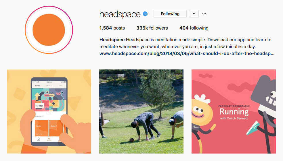 Instagram Marketing Strategy - Headspace Instagram