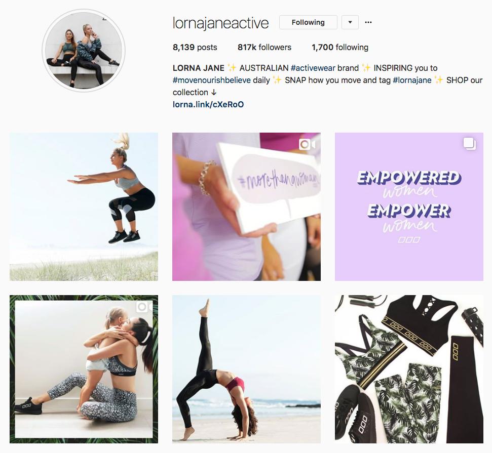 Instagram Marketing Strategy - Lorna Jane Instagram