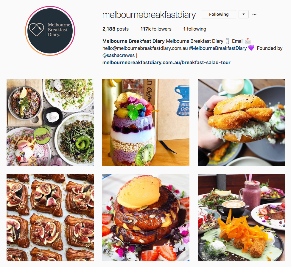 Instagram Marketing Strategy - Melbourne Breakfast Diary Instagram