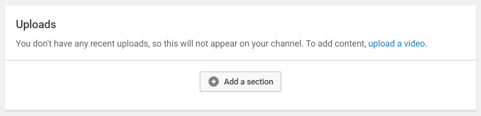The link to upload a YouTube video.