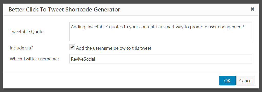 Generating a tweetable quote for your content.