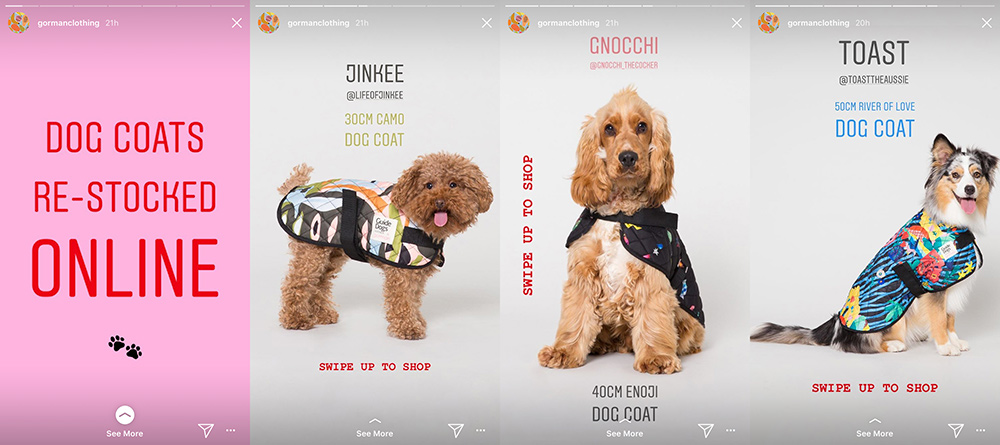 Fashion brand Gorman uses Instagram Stories