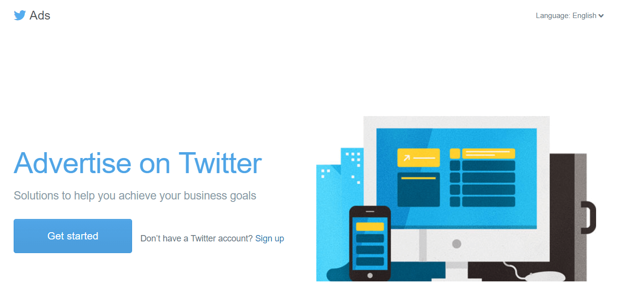 The homepage for the Twitter Ads program.