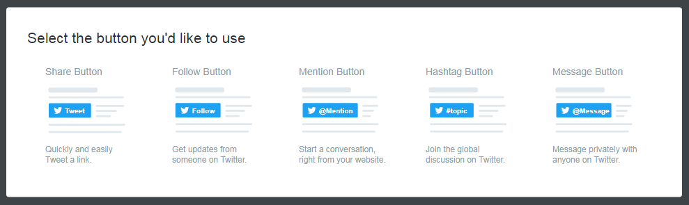 Options for various Twitter buttons.