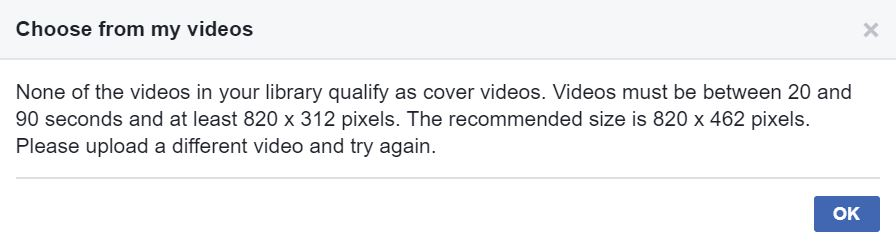 How to set up a Facebook cover photo / video: Video requirements