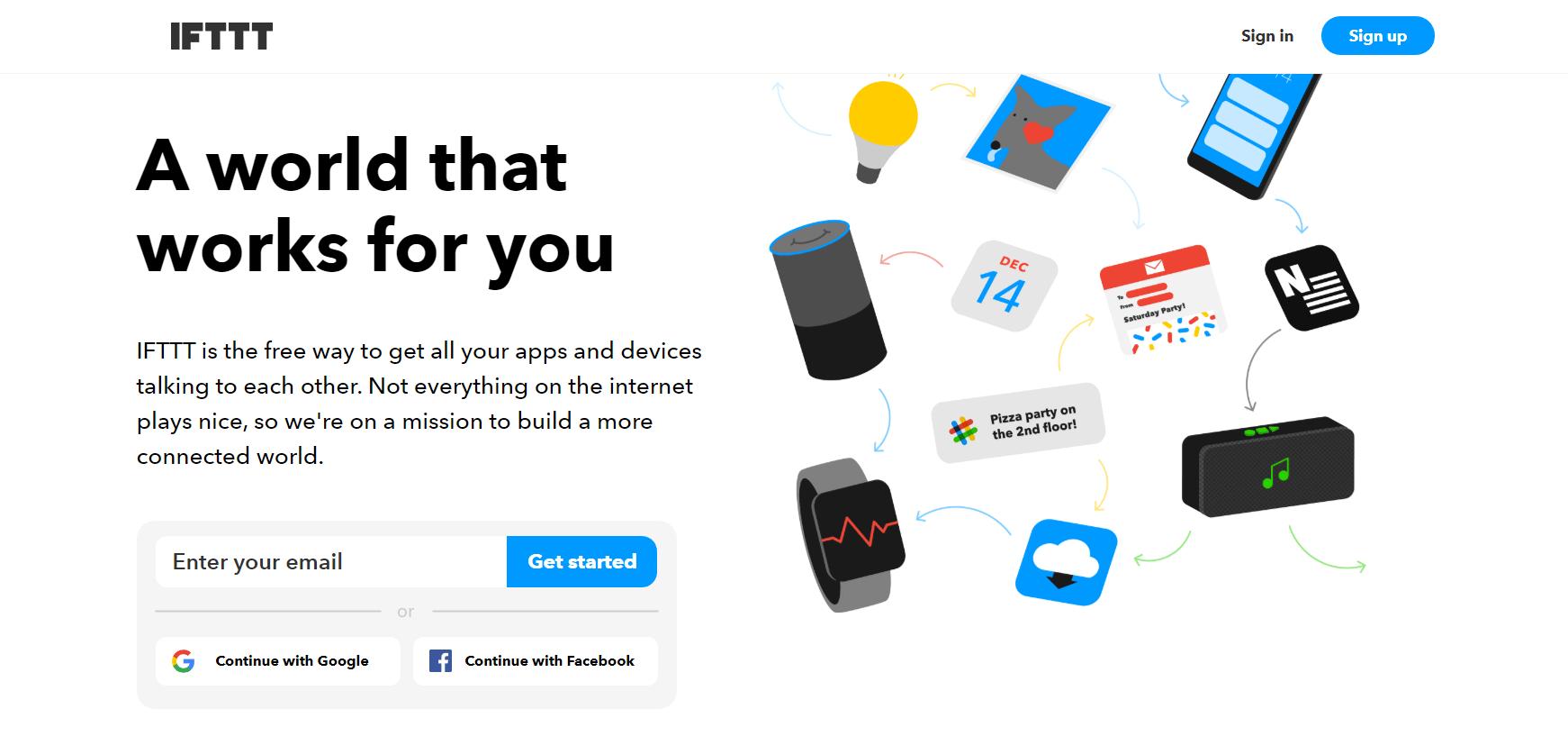 The IFTTT website.