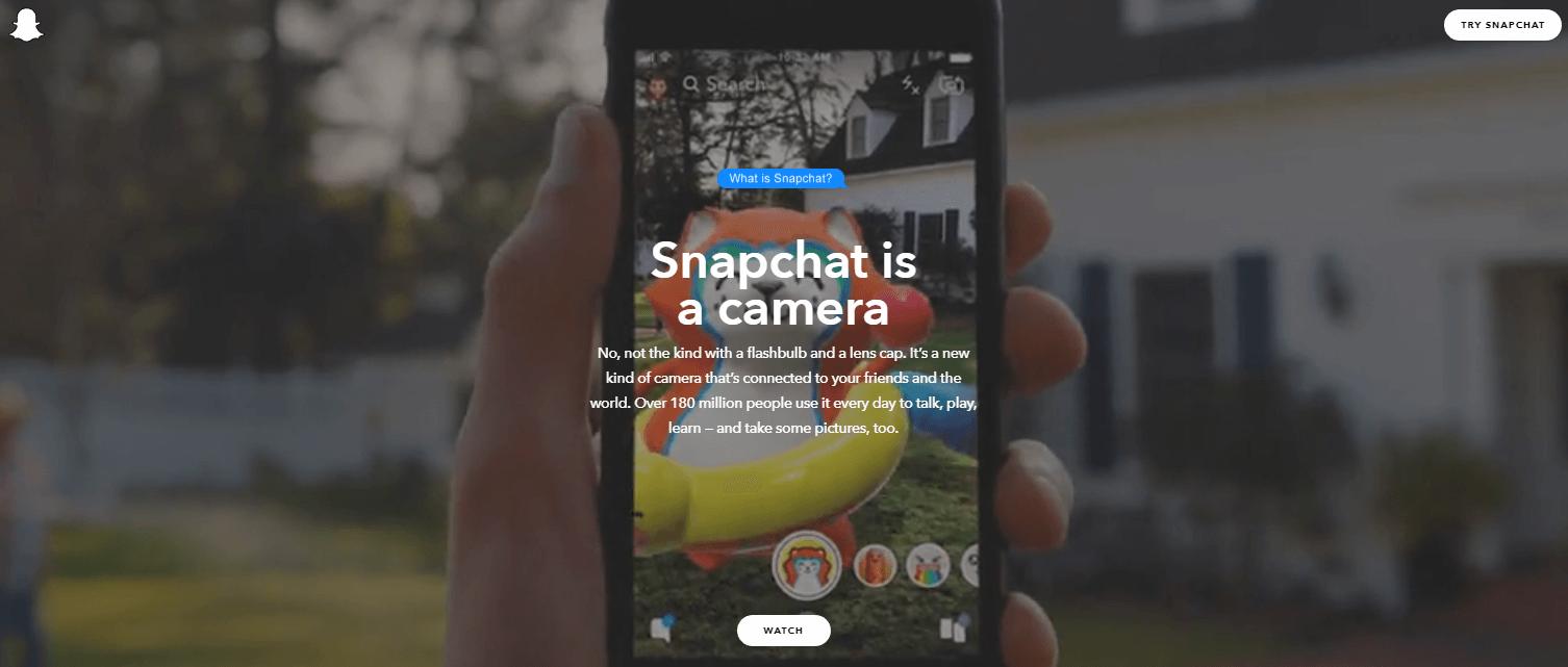 The Snapchat website banner.