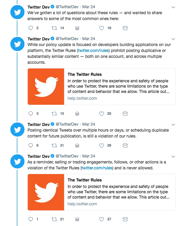 Twitter spam rules - what about social media automation?