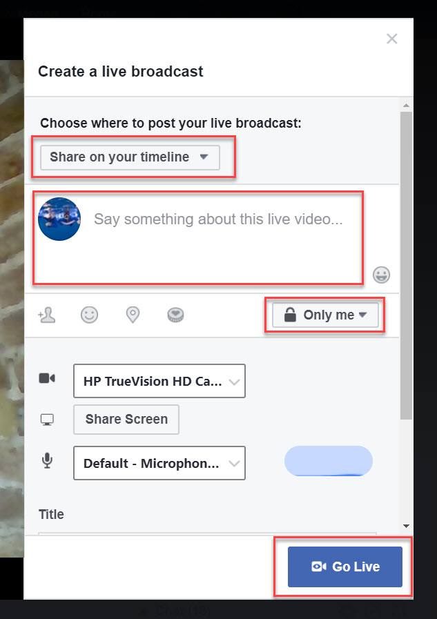 Facebook Live Settings