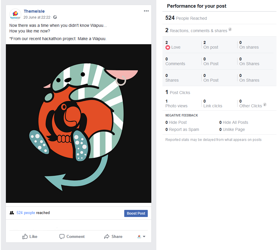 The results of a native image post to Facebook