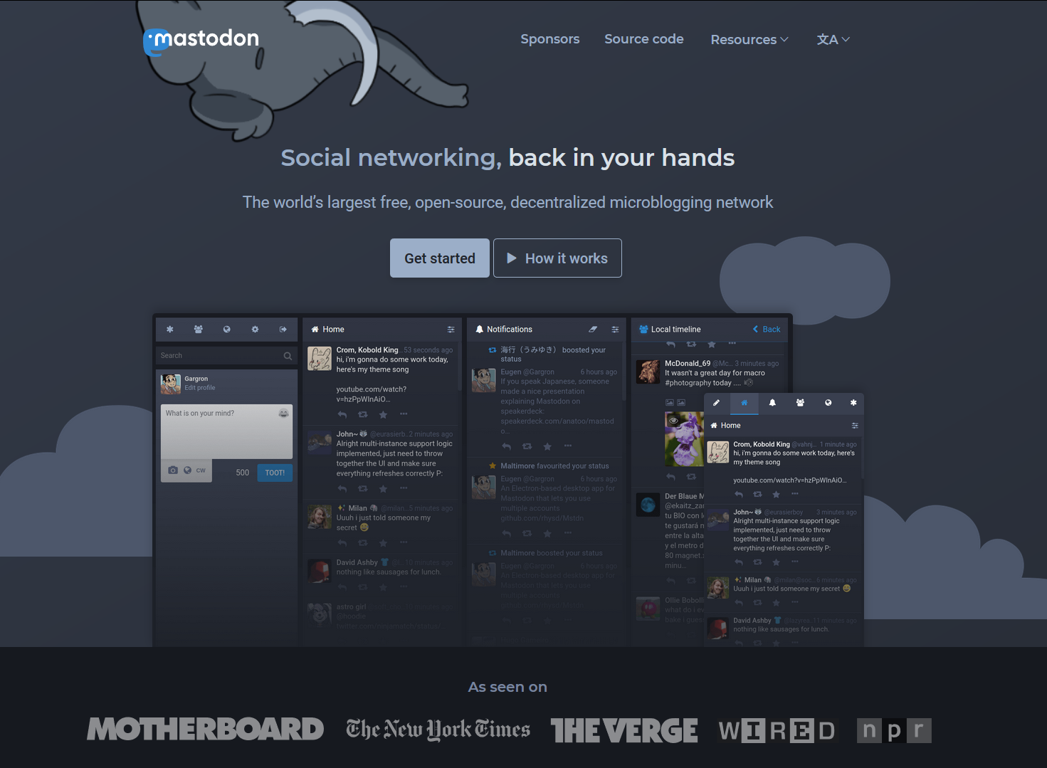 The landing page for Mastadon