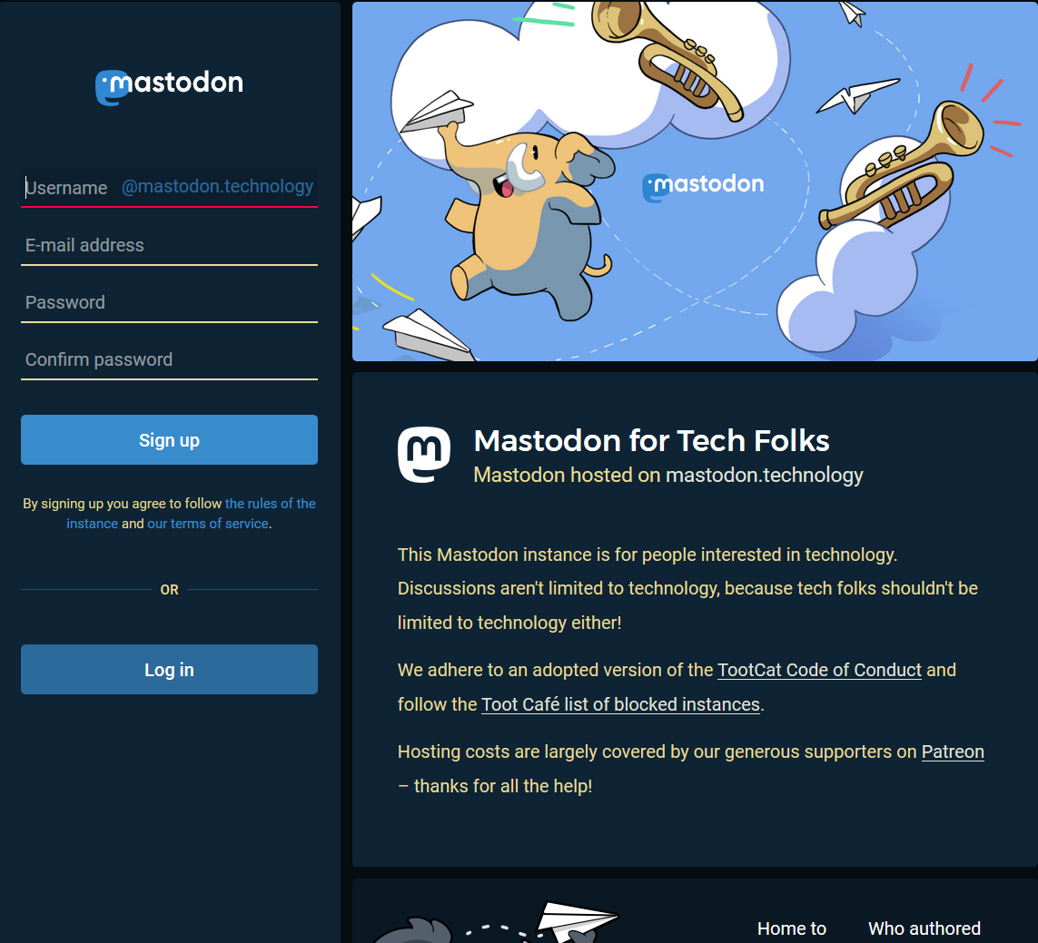 Mastadon.Technology instance sign up page