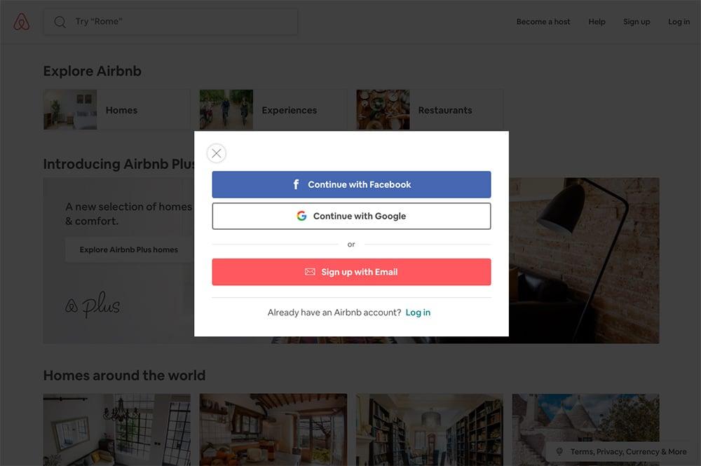 Airbnb social login
