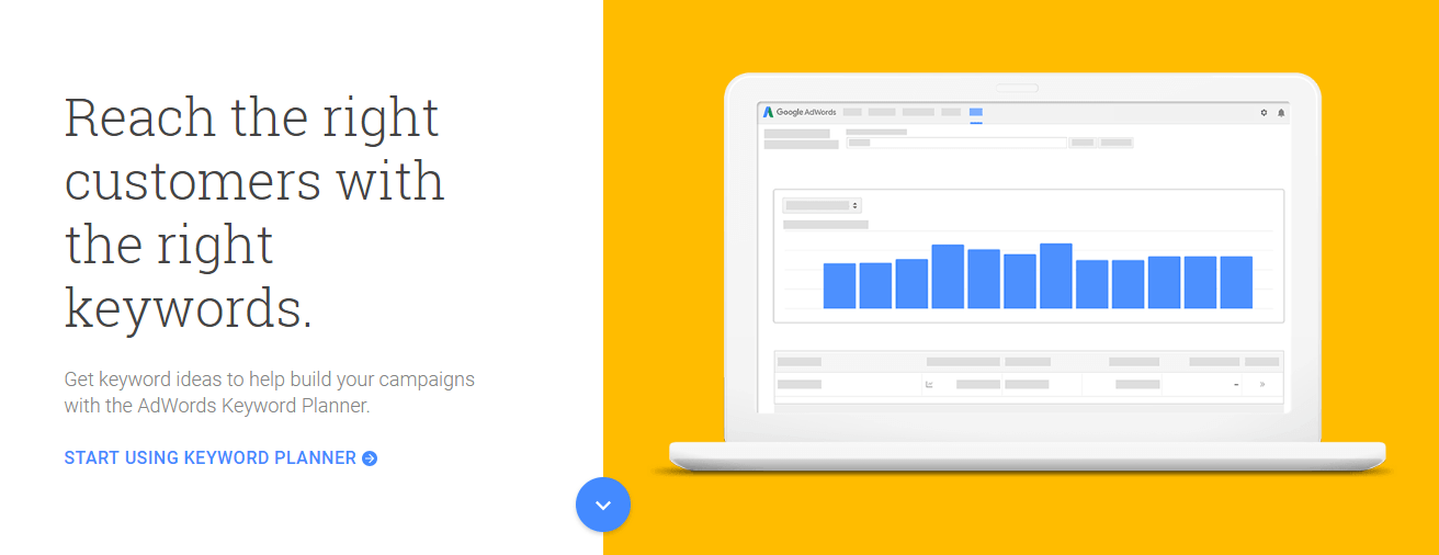The Google Keyword Planner tool.