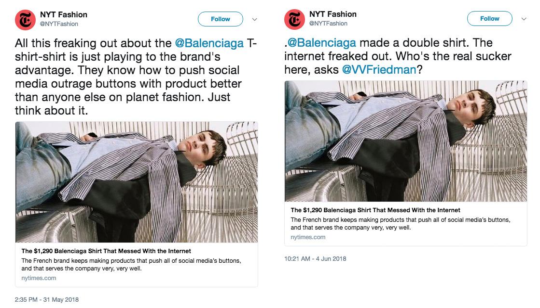New York Times schedule tweets example