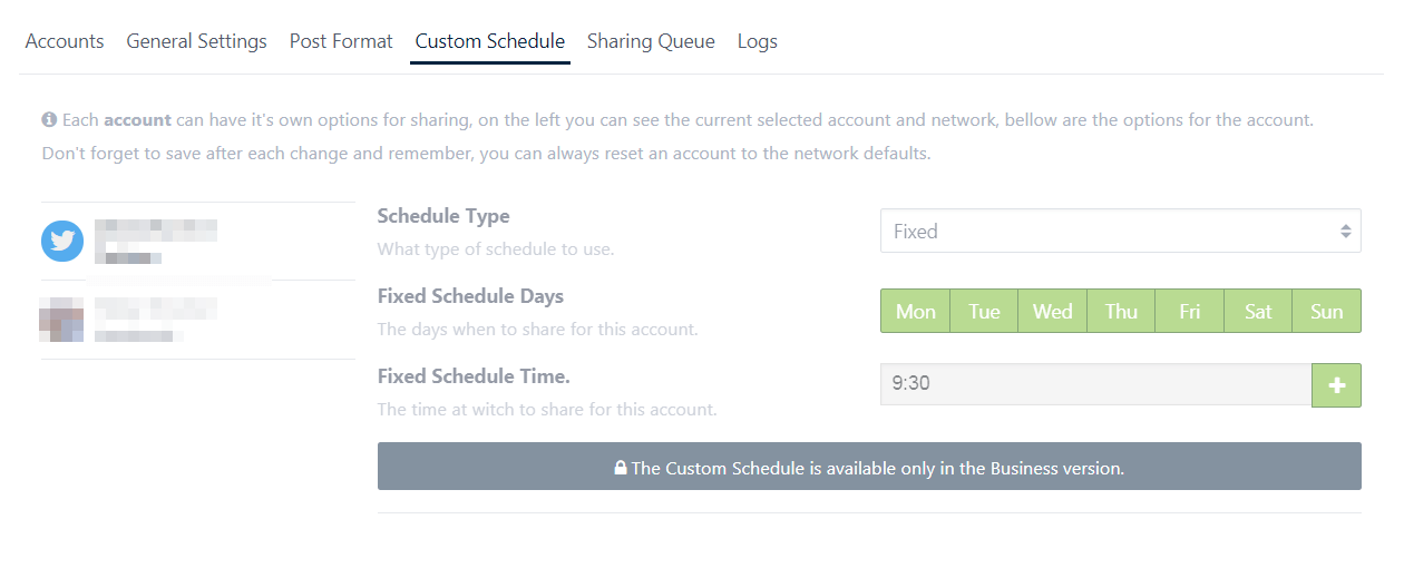 The Revive Old Posts Custom Schedule tab.