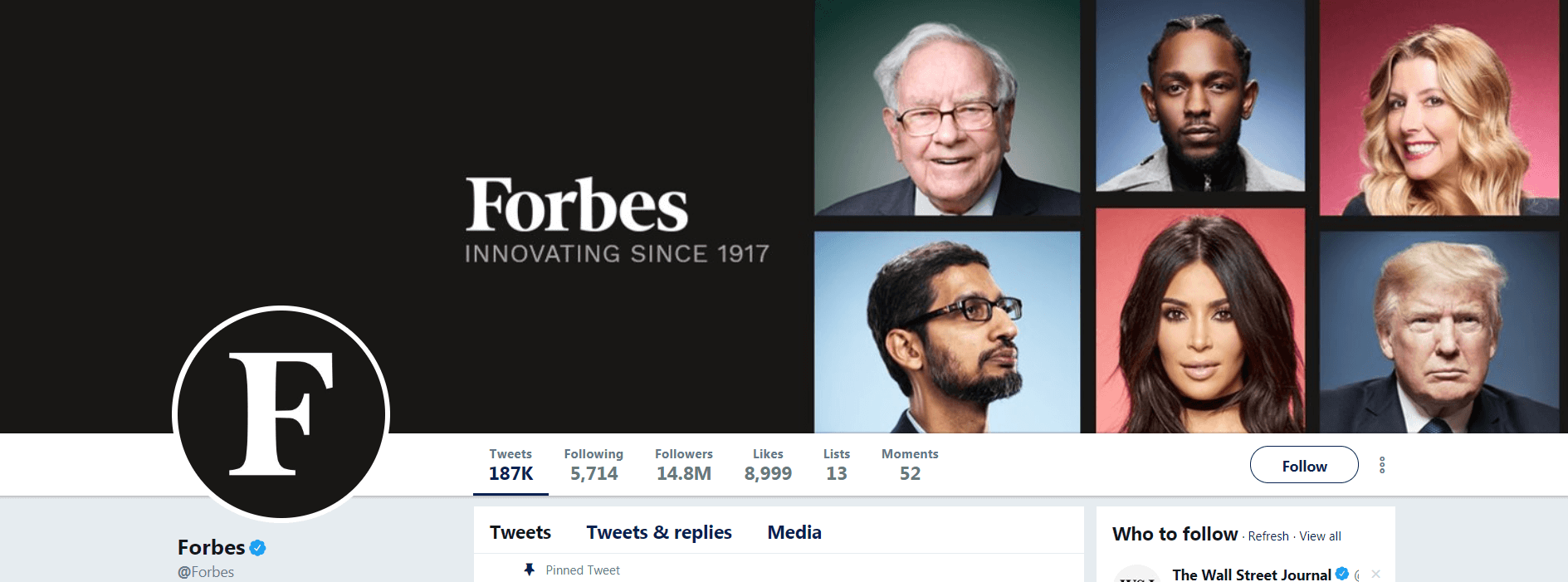 The Forbes Twitter business account header.