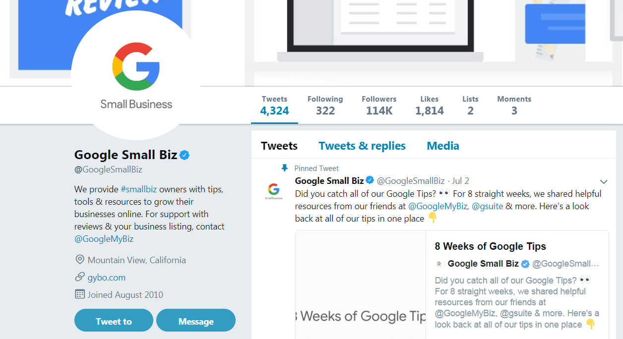 Google's small business Twitter account.