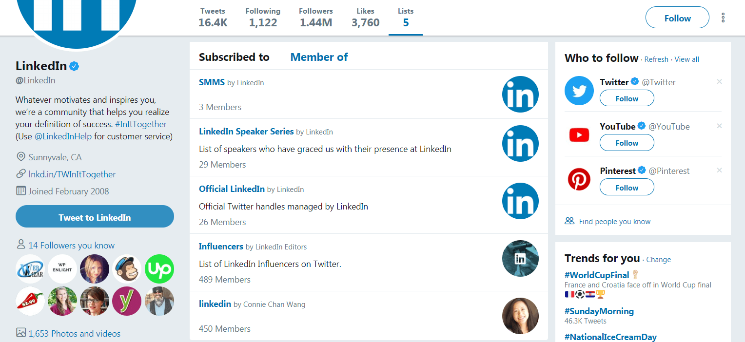 LinkedIn's Twitter lists.