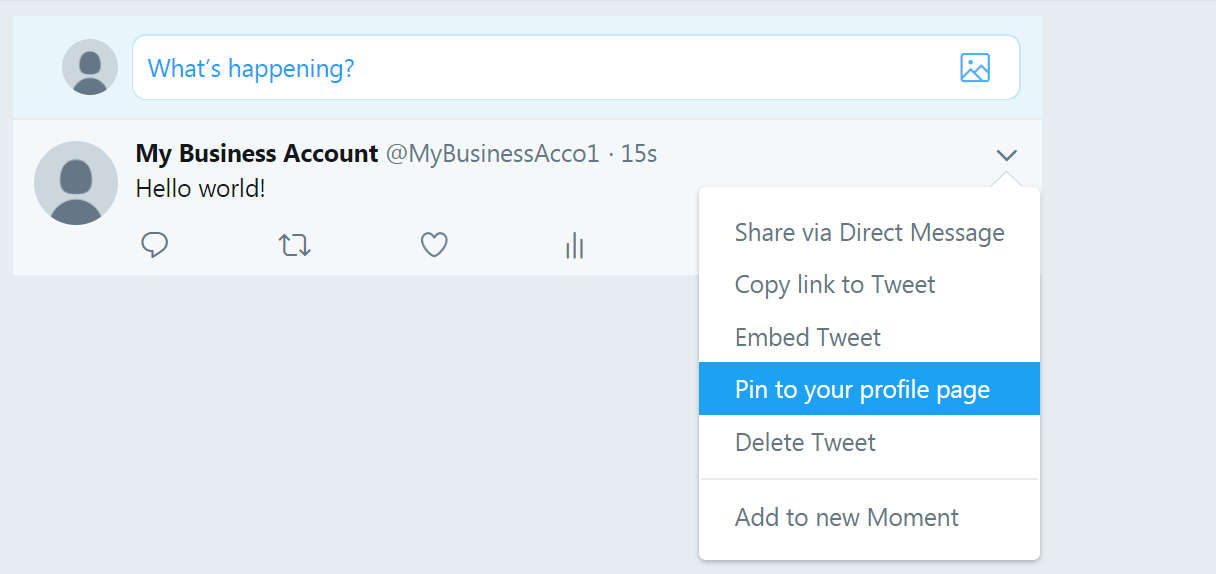 Pinning a new tweet on your Twitter business account.