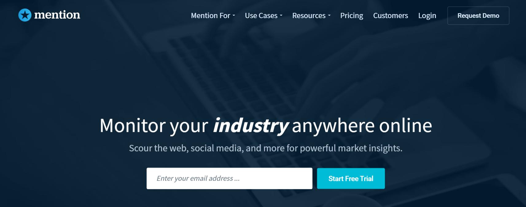 Social Listening Tools: The Mention website.