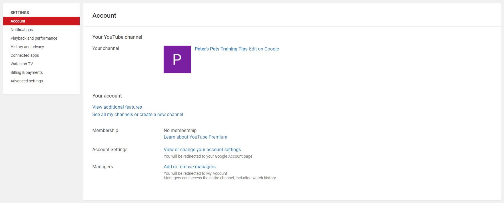 The YouTube account settings menu.