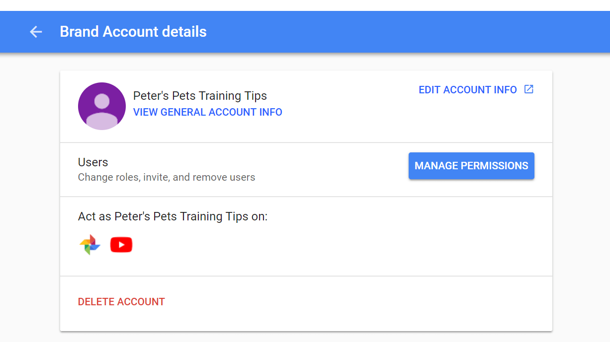 Managing the permissions for your YouTube brand account.