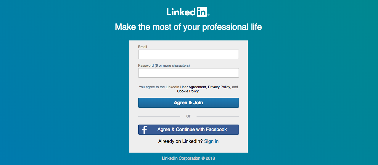 Creating a LinkedIn account.