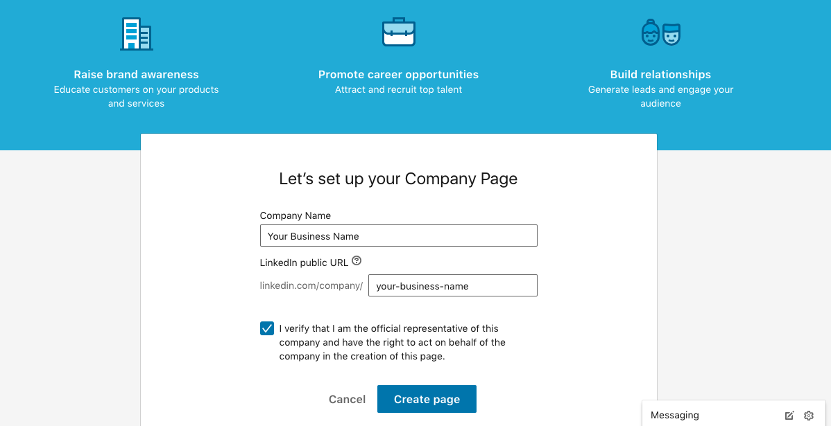 Setting up a LinkedIn company page.