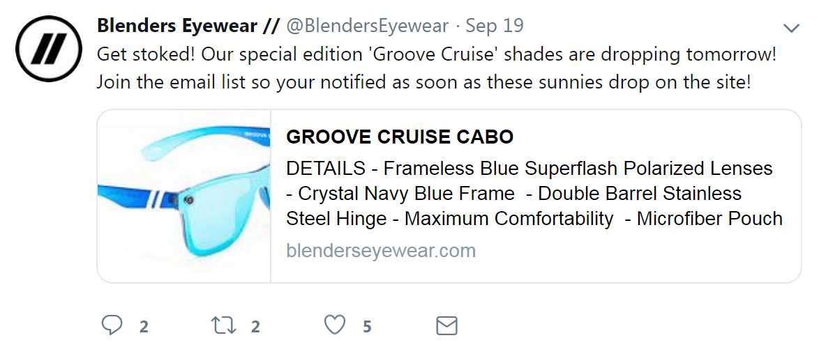 An email list CTA on a Twitter post.