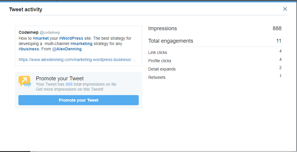 There will be a 17% drop in engagements when I add more than three hashtags to this tweet