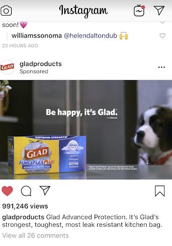 Instagram ads Glad